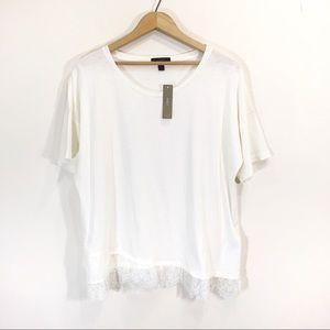 J.Crew Lace Cream T-Shirt Size Extra Large NWT